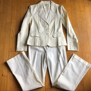 Tyler Boe Cream Denim 2 Piece Suit Size 4